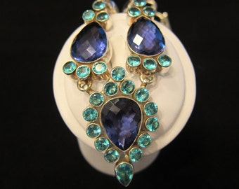 Amethyst Blue Topaz Sterling Silver Necklace (a54)