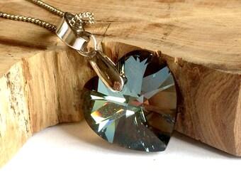 Swarovski Heart Necklace, Black Diamond Swarovski Necklace, Swarovski Jewelry
