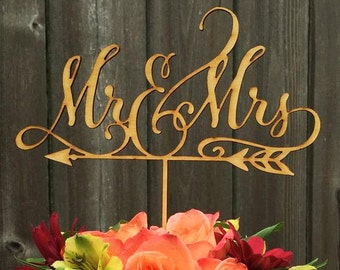 Mr & Mrs Wooden Arrow Cake Topper | Perfect for Weddings or Engagement Parties