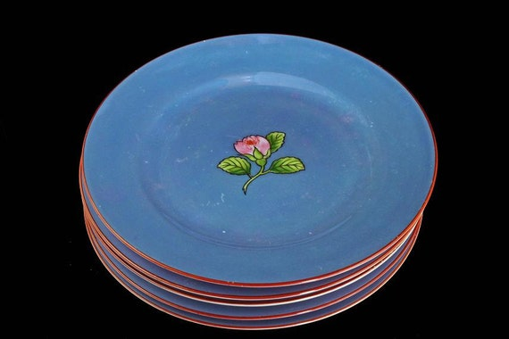 Lusterware Blue Plates, Noritake, Salad Plates, Rose Pattern, Hand Painted, Set of 5 Plates, Iridescent, Made in Japan, Hard To Find