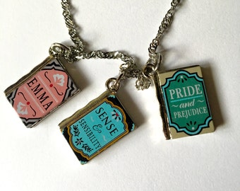 Jane Austin, Book Necklace, Book Lovers, Silver Necklace, Book Charm
