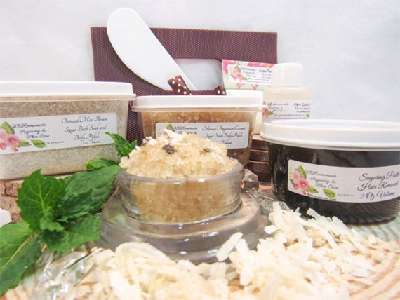 Natural Peppermint Coconut Scrub Sugaring Paste Deluxe Starter Kit by JBHomemadeShop