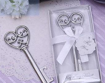 Chrome Bottle Opener Key to my Heart - Wedding Favor Bottle Opener - Silver - Wedding Favor For You