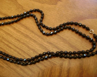 vintage BLACK FACETED BEADED necklace vintage costume jewelry