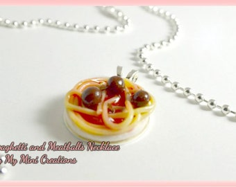Spaghetti and Meatballs Necklace, Miniature Food, Miniature Food Jewelry, Food Jewelry