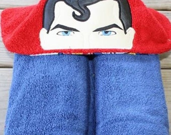 Superman inspired hooded towel bath/pool/beach