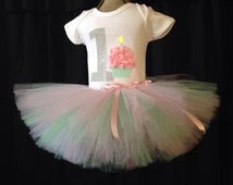 The Joy- One year birthday outfit girls, smash cake outfit, first birthday tutu, 1st birthday shirt, pastel colors one year old birthday set