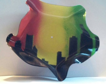 Detroit Skyline, rasta vinyl record bowl