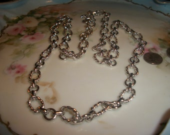 Monet SilverTone Rope Link Length Necklace