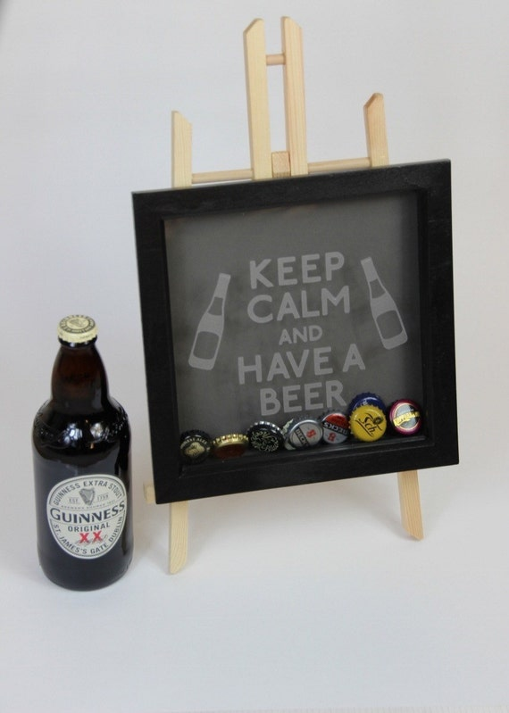 Beer bottle caps memory box frame stag do best man by for Beer bottle picture frame