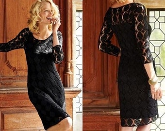 Elégante robe noire crochet / custom