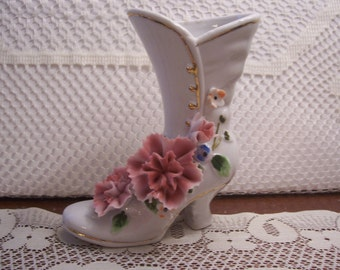 Royal Crown Porcelain High Button Shoe with Applied Flowers