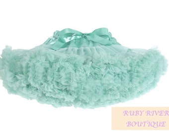 mint green Petti Skirt Tutu flower girl  Baby Girl First Birthday Outfit, Soft and  Fluffy tutu Pettiskirt Deluxe Layered Party Dress