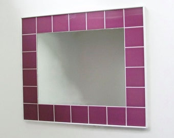 "Tile Mirror, 24"" x 27"", Bathroom Mirror, Ceramic Tile Mirror, Decorative Wall Mirror, Handmade Mirror, Raspberry Mirror, Purple Mirror"