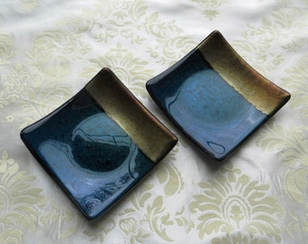 Pair of Small Fused Glass Plates in Iridescent Blue and Black with Metallic Gold Accents