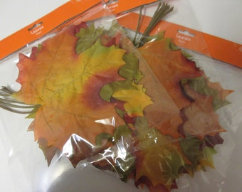 LARGE Artificial Fall Leaves-Fall Leaves-Artificial Maple Leaves-Fall Stems-Fall Picks-Fall Decor