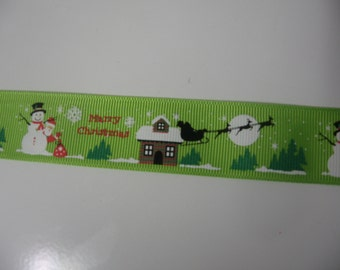 "3 YARDS-9 FEET-1"" Christmas Ribbon-Merry Christmas Ribbon"
