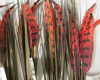 Artificial Fall Bushes-Red Pheasant Feather Artificial Fall Bushes-Artificial Feathers-Feathers