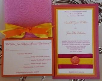 Hot Pink and Orange Wedding Invitation Set - Fuchsia Fuschia and Tangerine Wedding invitation Set- Pink orange tropical Wedding