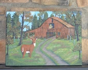 Rustic painting, Deer, barn painting, reclaimed wood art, rustic wall art, cabin art
