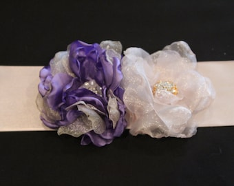 Custom Bridal Sash/Cabbage Rose Sash/Rose Maternity Belt/Country Wedding Sash/Purple Rose Sash/Bridal Dress Belt/Floral Wedding Sash