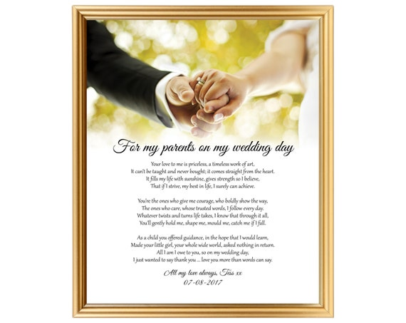 Gift poem on wedding day - From Bride to parents - Poem gift to Mom ...