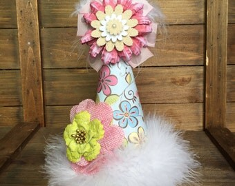 Shabby chic flower kids party hat