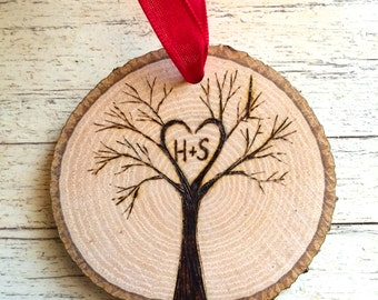 Tree Initials personalized wood slice ornament custom Our first Christmas