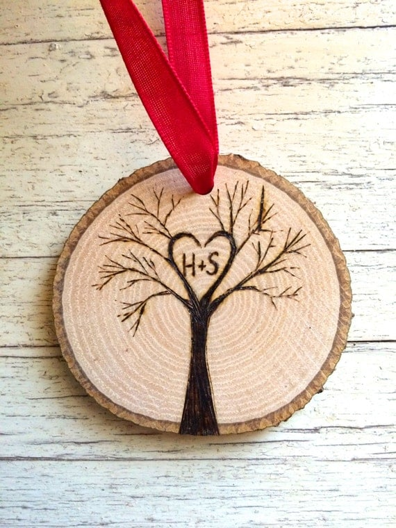 Tree initials personalized wood slice ornament custom our for Custom engraved christmas ornaments