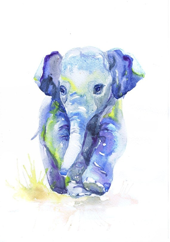 Baby elephant art watercolor painting baby boy nursery like this item negle Choice Image
