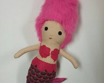 Mermaid Doll Pink Shag Hair ready to ship