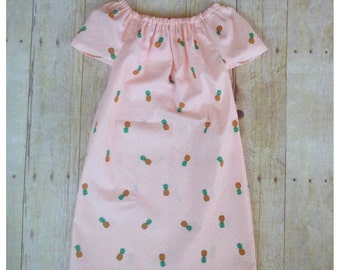 Girls spring dress, birthday gifts, pineapples, photo outfits, pineapple dress, flower girl dress, spring fashion, peasant dress
