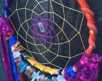 DREAMCATCHER: Rainbow&quartz crystal inspired! Colorful/dreamcatchers/boho/rainbows/boho decor/one of a kind