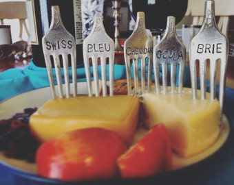 Custom Made, Vintage Fork, Cheese Markers, Food Markers