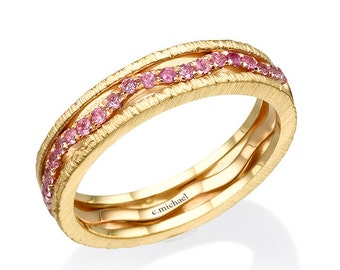 pink sapphire ring yellow gold ring sapphire ring wedding band rings - Cheap Gold Wedding Rings
