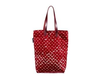 Haruko. Red Butterfly Print Tote.  100% Silk Bag