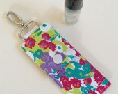 Essential Oil Case- Travel Clip (Rollerball), Teal, Purple, Magenta Floral