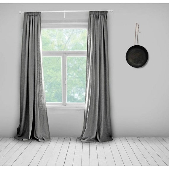 Lined Linen Drapes: Grey Linen Curtains Lined Steel Grey Made To Measure By