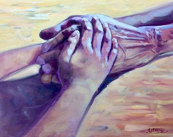 Hold On, original oil painting 16x20 canvas