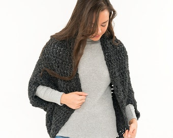 Ready To Ship! SALE - Chunky Knit Wool Sweater, Over Sized Crochet Shrug, Bat Wing Shawl, Women's Soft Knitted Winter Accessory, Crocheted