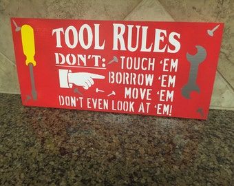 ON SALE signs for Dad - TOOL Rules Sign - tool sign - man cave sign - garage sign - dad's garage sign - fathers day gift - gift for dad