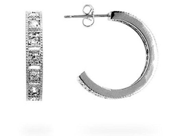 CZ Earrings- Cubic Zirconia Hoop Earrings- Cubic Zirconia Earrings- CZ Hoop Earrings- Silver Hoop Earrings-Rhinestone Hoop Earrings