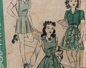 Hollywood 670 vintage 1940's girls playsuit, skirt & blouse sewing pattern size 12 bust 30