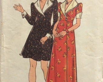 Butterick 3919 vintage 1970's junior misses wrap dress in two lengths sewing pattern size 13/14 bust 33.5 bust 33 1/2
