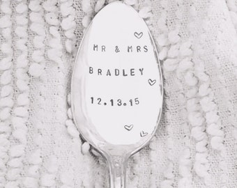 hand stamped vintage wedding spoon -mr and mrs, personalized bride and groom, dated