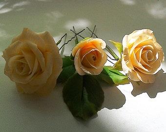 Rose hair pins set. Wedding hair accessories. Clay flowers. Ivory rose hair pins.