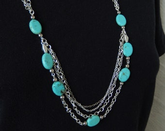 No. 2378  Turquoise & Silver Necklace