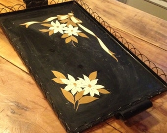 Vintage Metal Flora Art Deco Hand painted Serving Tray