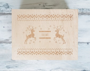 Wooden Christmas Gift Box, 3 Styles Embroidery