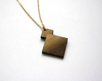 Wooden geometric necklace, wood long collar pendant, opt art inspiration, made in France Paris, chic modern minimalist graphic, woman jewel